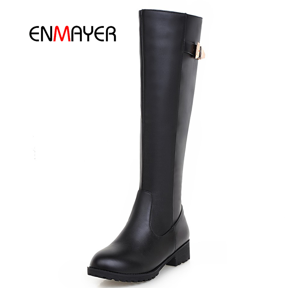 The cheapest low heel autumn winter Pu upper TPR outsole ladies knee boots