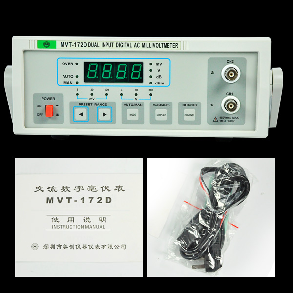 Electronic 5Hz-2MHz frequency measure voltage MVT-172D Digital Millivoltmeter