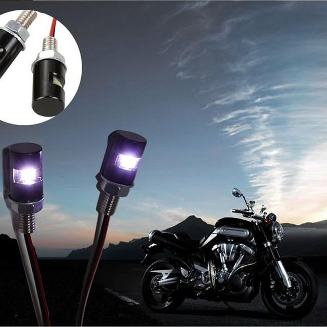 12V 2pcs White LED SMD Motorcycle&Car License Plate Screw Bolt Light lamp bulb