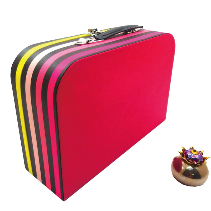 Fashionable Modern Design Black Metal Handle Coated Paper Cover Custom CMYK Printing Storage Box Paper suitcase