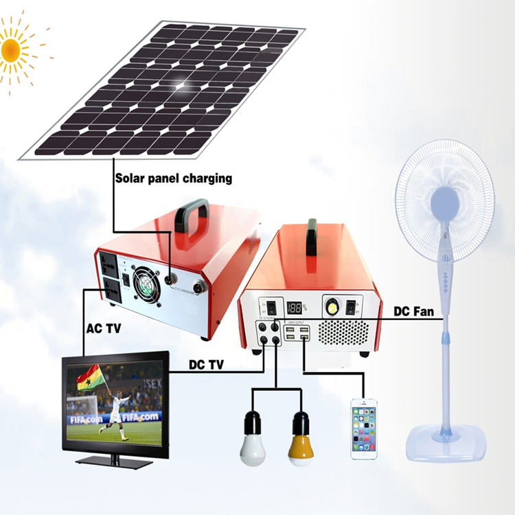 Hot 12V 220V low cost home portable solar panel kit solar lighting kit 500W station