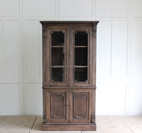 french rustic style wooden glass kitchen cabinet