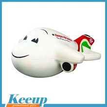 Lovely custom printed plane shape Pu stress ball reliever for 2015 new give away gift