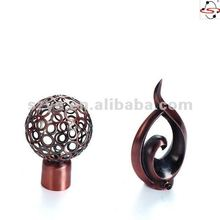 S38 metal finial for curtain rods,poles and piples,copper color with line design