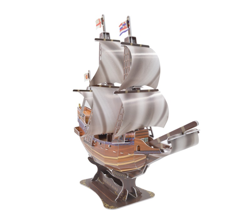 3D paper stereo puzzle Golden Hind ship model DIY stereo puzzle combination early childhood puzzle Gift toys