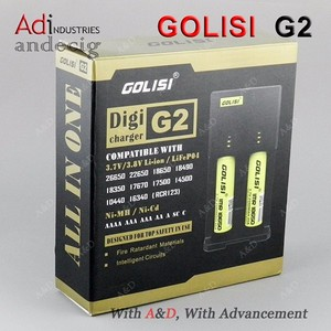 High quality Golisi 2 slots charger G2 for Ni-MH/Ni-Cd/aa aaa/18650/26650 lifepo4 battery vape batteries