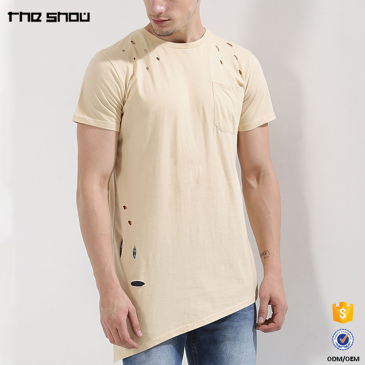 Alibaba online shopping asymmetrical distressed plain t shirt for men
