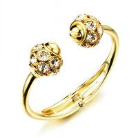 Gold Plated Crystal Bangle For Women