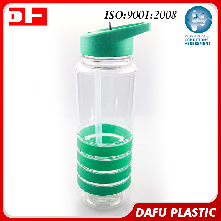 bpa free custom clear plastic water bottles with silicone circle straight body water bottles