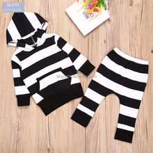 Autumn baby clothes set Hooded Stripe T-shirt long Pants pocket kids clothing sets long sleeve spandex cotton boys clothing sets