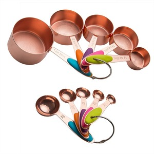 Premium Copper Stainless Steel Measuring Cups and Spoons Set of 10 Pieces