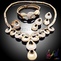 Dubai 18k gold plated hot sale jewelry set Jealousy banquet ladies jewelry set water drop four jewelry set