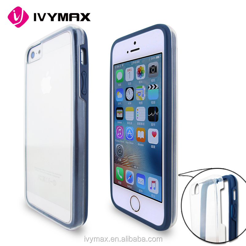 Free shipping china factory supplier transparent crystal soft tpu hard pc back cover case for iphone 5g mobile phone