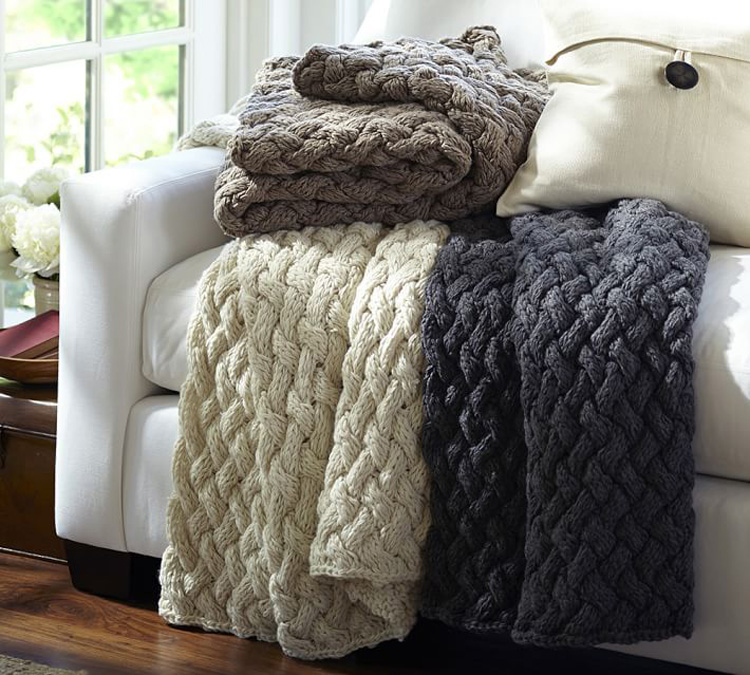 SZPLH Very warm hand knit <strong>plaid</strong> throws and blankets