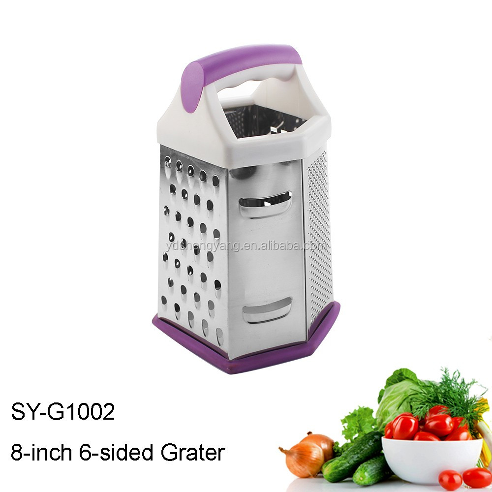 SY-G1002 Fruit & Vegetable tools 6 Sides Stainless Steel Multi Grater With Handle 8-Inch