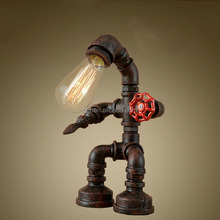 2017 new design wholesale decorative industrial vinage light water pipe table lamp