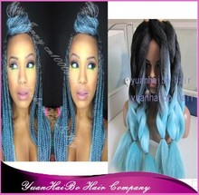 "Stock! cheap price 20"" fold two tone black/light blue synthetic 100% braid hair for women"