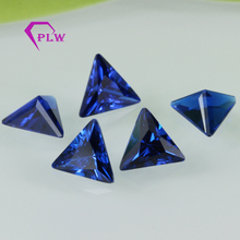 Perfect cutting 10*10mm triangle shape synthetic 112# blue spinel gemstone for jewelry
