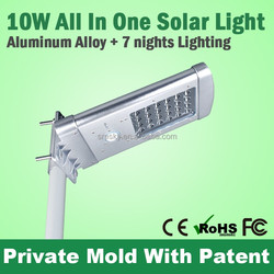 7W solar panel 5W LED 13200mAh Li-ion battery solar power street light for path way/court yard/park Shenzhen China