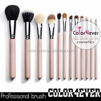 Wholesale private label pink 12pcs personalized makeup brush set natural hair makeup brush set