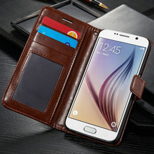 leather wallet case for samsung s6 , book style flip leather case for samsung