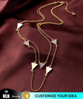yiwu jewellery 18k solid gold chain vintage diamond double triangle necklace