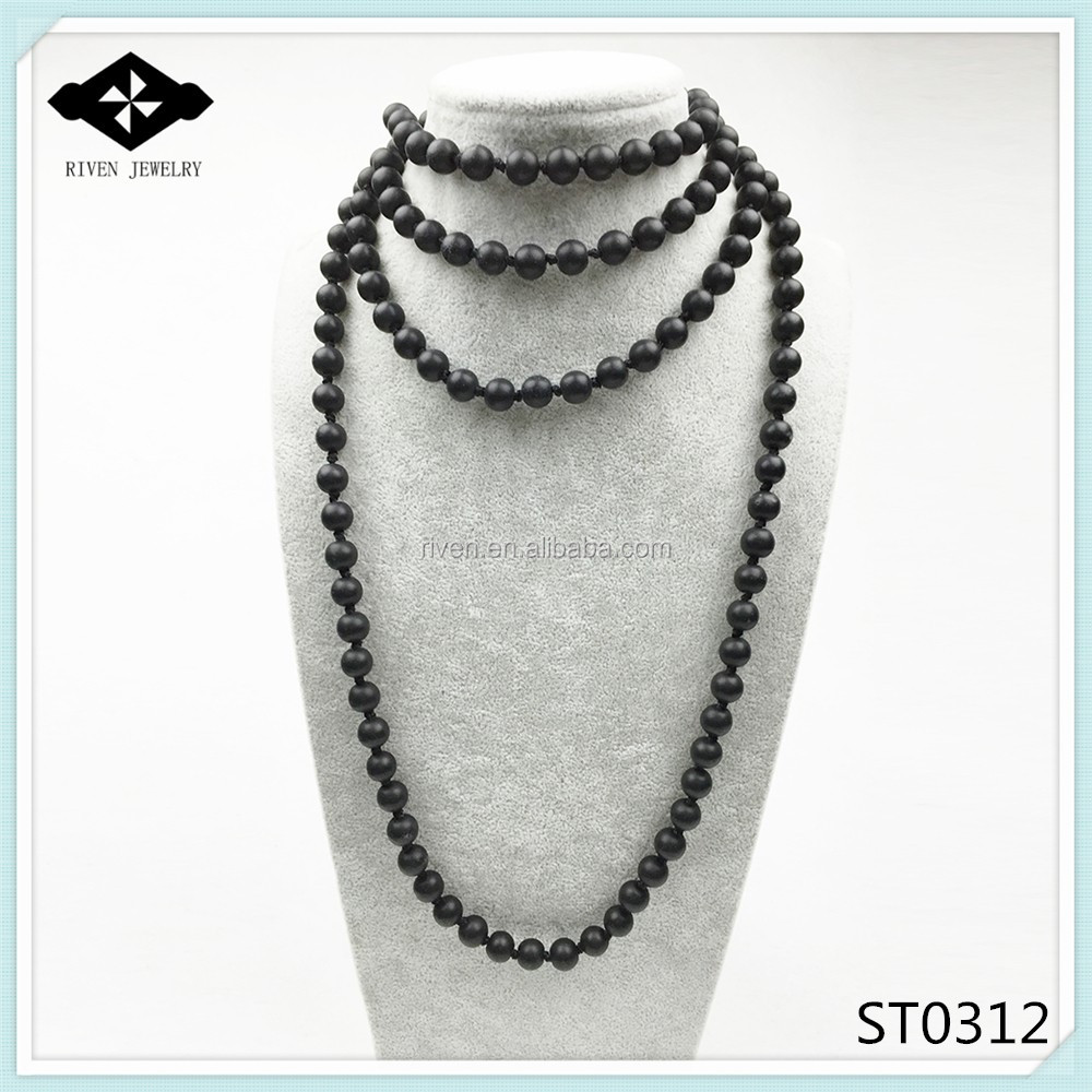 ST0308 8mm Natural Turquoise Bead Making 60 inch long green stone necklace Women Fashion Boho Necklace