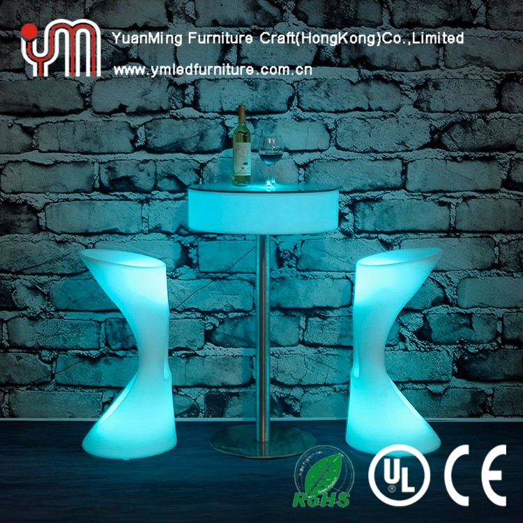 waterproof patio led bar table illuminated plastic furniture