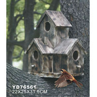 Stand wooden bird house