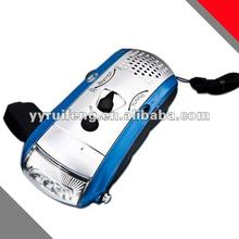 Led Dynamo Flashlight Radio Hand Crank Generator Rechargeable Flashlight With Radio CE RoHS for Camping Use