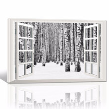 3D Window View Wall Decor Forest Canvas Art/Birch Tree Canvas Print Wholesale/Winter Landscape Home Decoration Wall Art