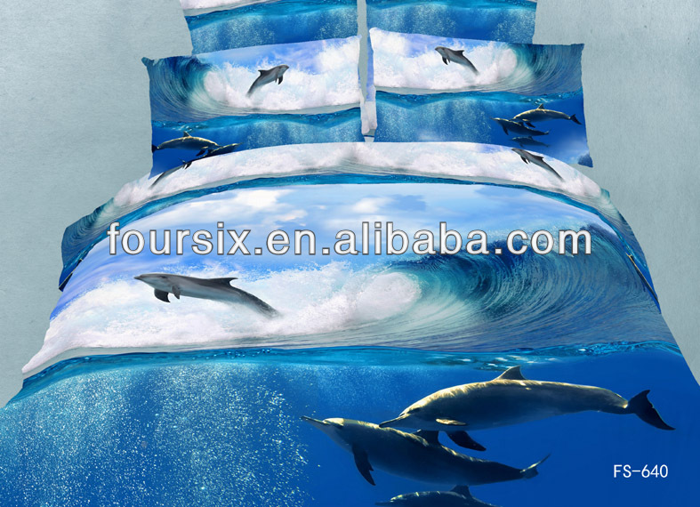 reactive printed 100% cotton 3D effect animal bed sheet set bed linen wholesale