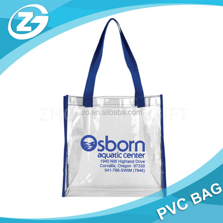 promotional custom clear pvc shopping bag
