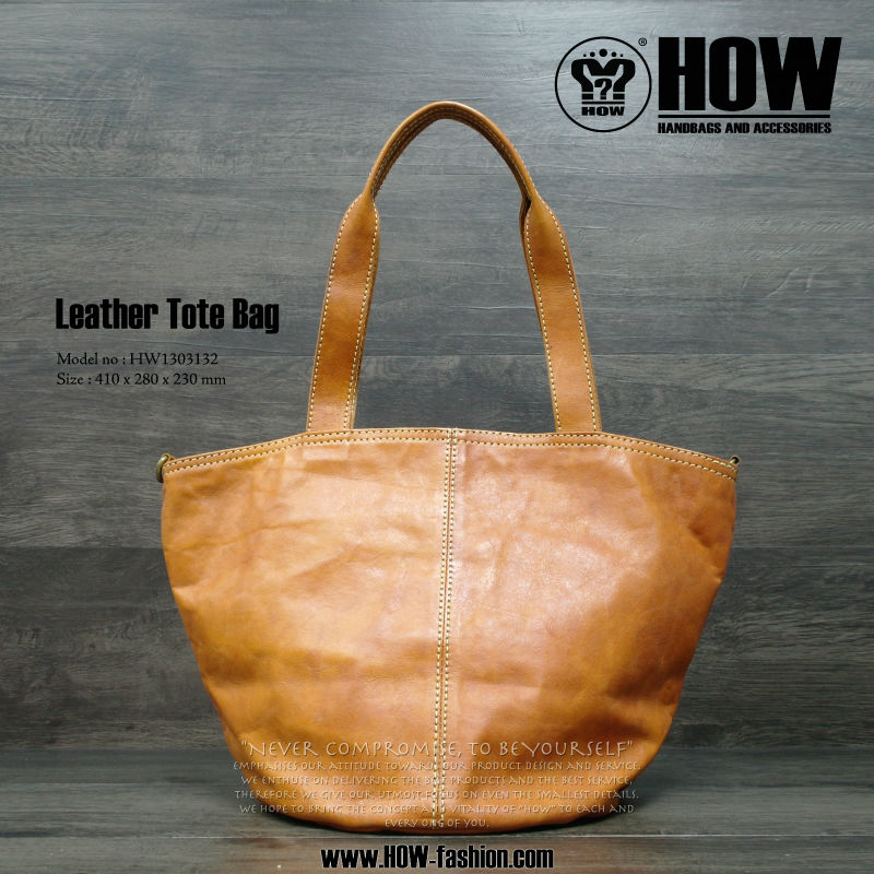 HOW Lady Genuine Leather Tote bag/Handbag in Camel Color