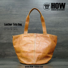 SS HOW Lady Genuine Leather Tote bag/Handbag in Camel Color