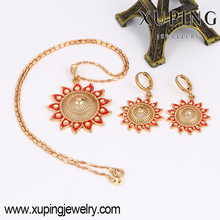 63771-Xuping High Quality Indian Bridal Red Jewelry Sets, hot sale fashion jewelry Gold