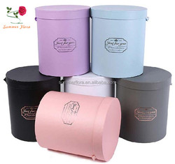 wholesale luxury paper boxes packing round flower box for preserved roses