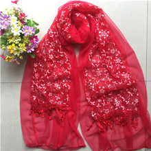 2018 New fashion Nice Plain Tie Dye Lace Hollow Double layer scarf Muslim Hijab Shawls Cotton Print Floral Scarves