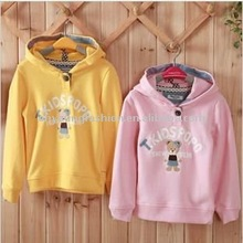 160grmhot sale new style fashion promotional pure cotton with pattern loverly bear screen printed children sweater pretty hoody