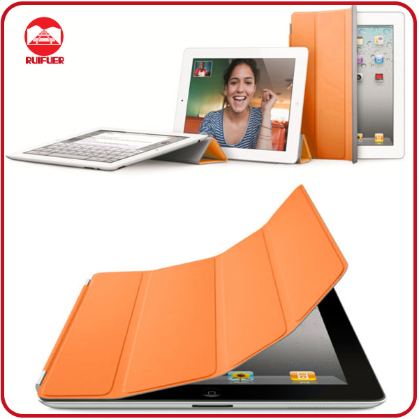 High Quality Orange Slim Thin Magnetic Leather Smart Wake/Sleep Cover Flip Case for Ipad 2 3 4