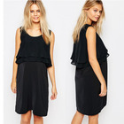 Black color layers maternity clothes fashion nice nursing breastfeeding dress