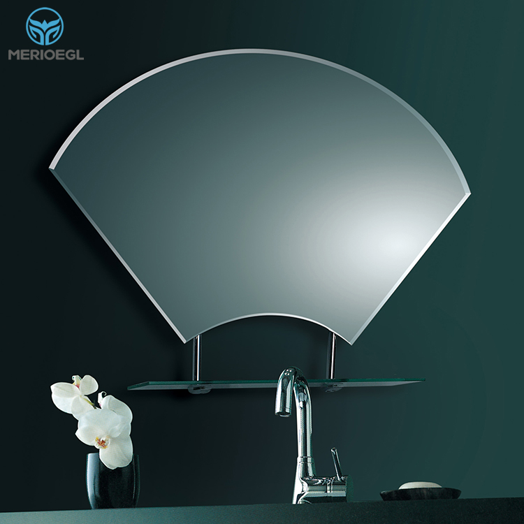 Economical frameless wall bathroom shelf mirror fan silver mirror for hotal