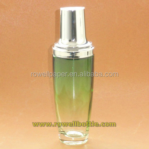100ml green color tall cosmetic containers with luxury lotion pump manufacturer made in China