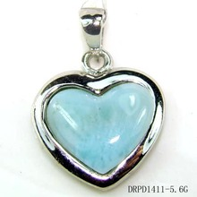 Larimar with 925 Sterling Silver,larimar stone Heart Pendant/Charms DRPD1411P