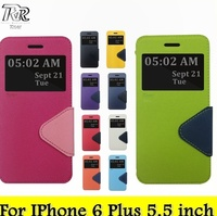 Roar Slim PU Leather Wallet Case, Folio Stand View Card Slot for IPhone 6 Plus 5.5 inch (10 Dual Colors)