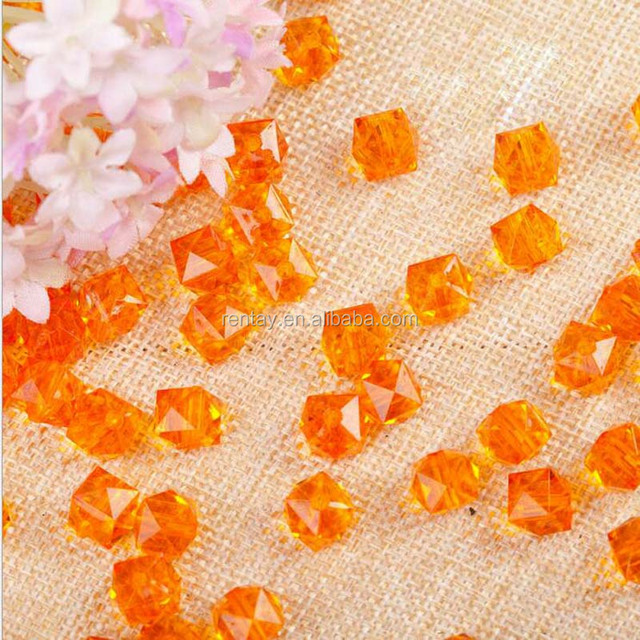 Orange Color 10mm 12mm 14mm Loose Jewelry Chunky Faceted Acrylic Plastic Crystal Beads