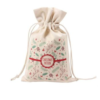 Large Capacity Shopping Gift Cotton Christmas Gift Sack Bag, Canvas Drawstring Storage Bag