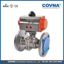 SS304 Flanged Ball Valve with double and single acting actuator
