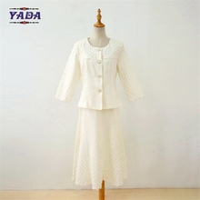 Custom 2 pieces white church eyelet embroidery design female skirt lady formal suit pictures of office uniforms for women