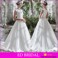 2016 Wholesale Price Ball Gown Covered Back Shiny Sash Organza Beautiful Bridal Dress